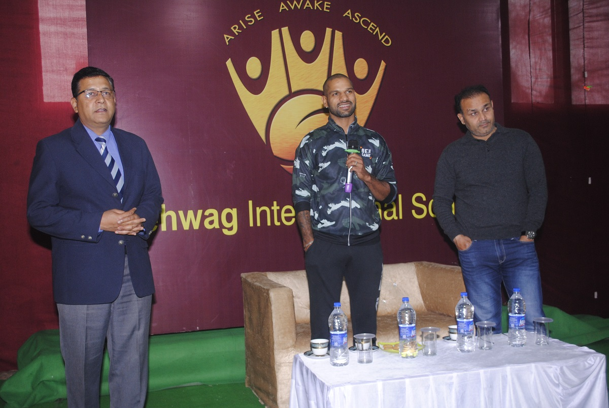 Visit of Shikhar Dhawan at Sehwag International School