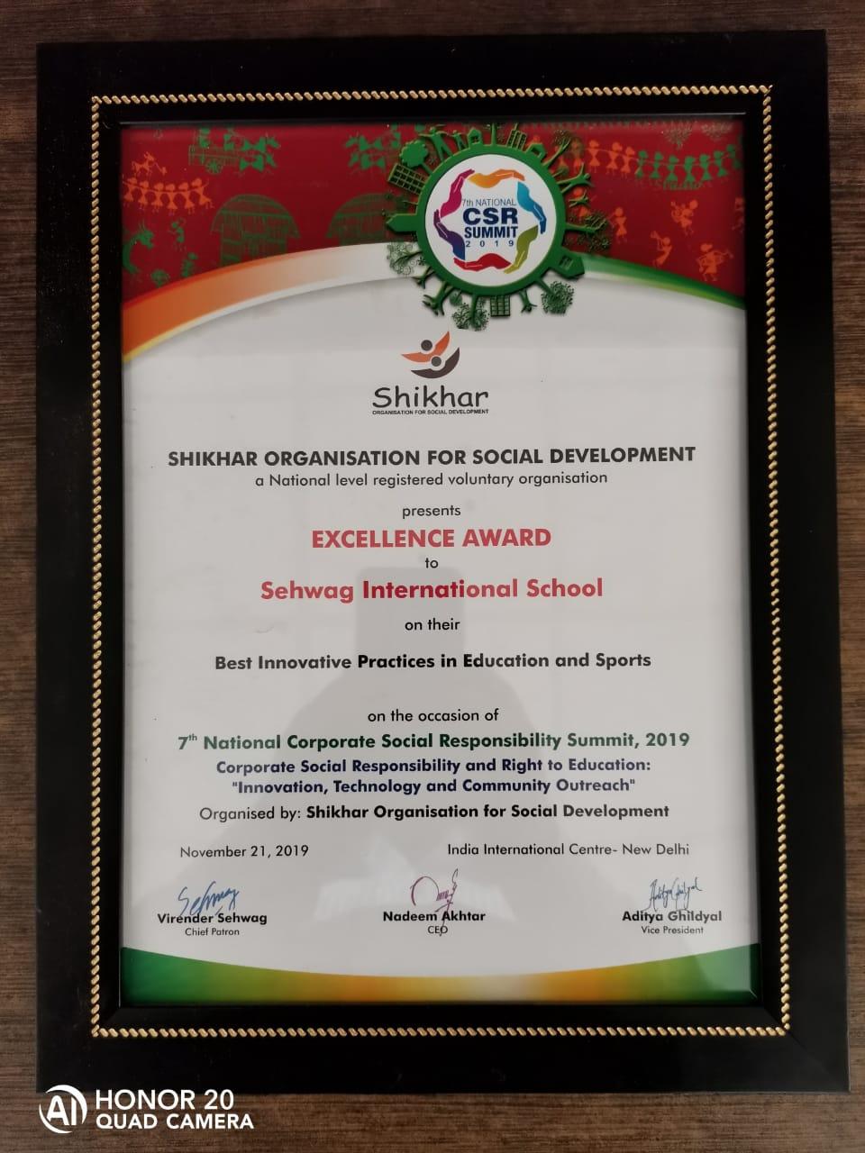 Sehwag International School awarded Excellence Award by Shikhar Organisation